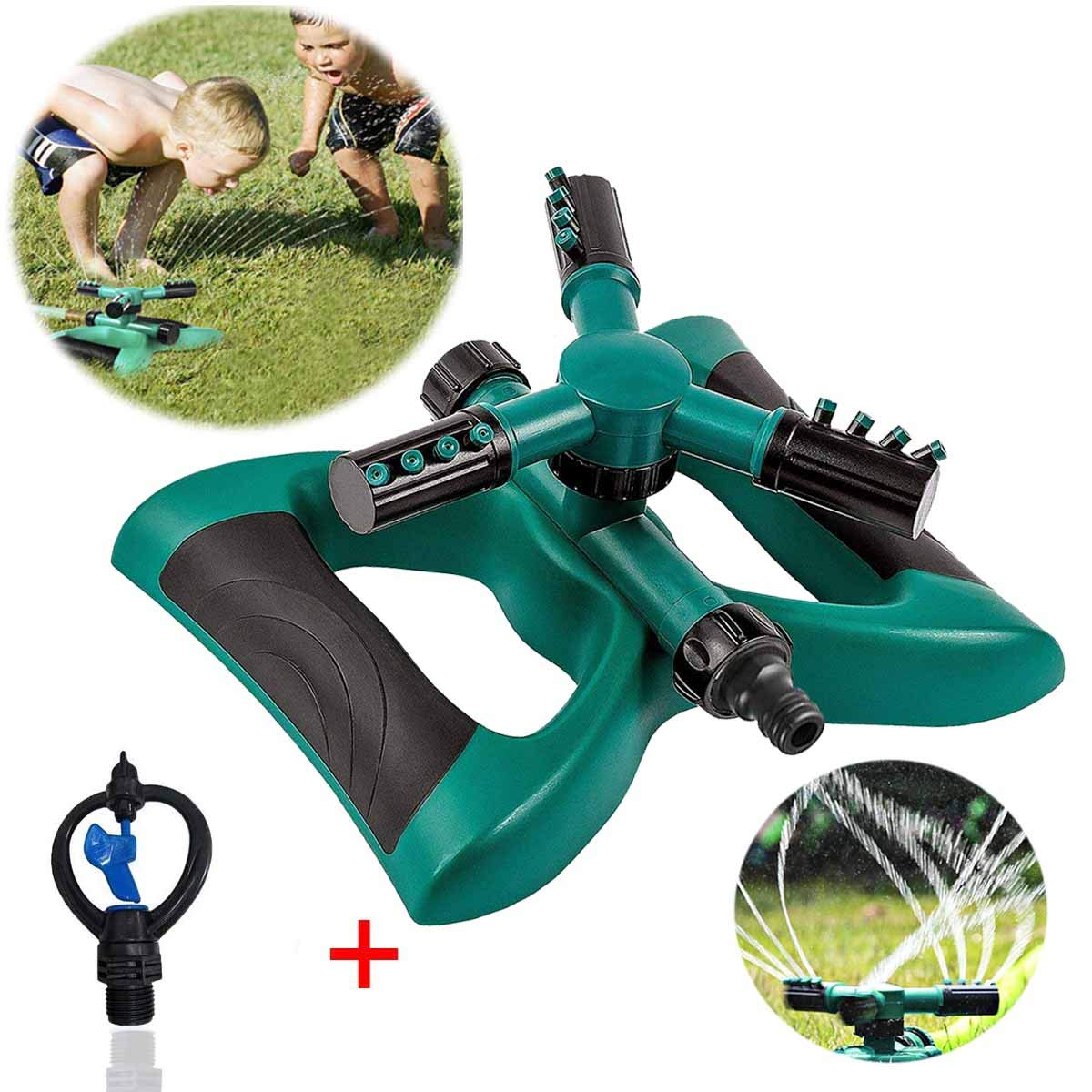 Lawn Sprinkler Automatic Sprinklers For Garden Water Sprinklers For Lawns 360 Rotating Adjustable Lawn Irrigation System Watering Sprinkler for Kids Covering Large Area Design Durable 3 Arm