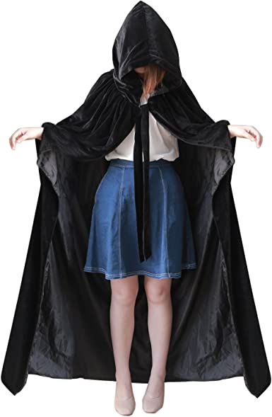 Halloween Cosplay Costume Velvet Hooded Cape Medieval Renaissance Cloak One Size