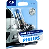 Philips 9145 CrystalVision ultra Upgrade Replacement Bright White Fog Bulb, 1 Pack
