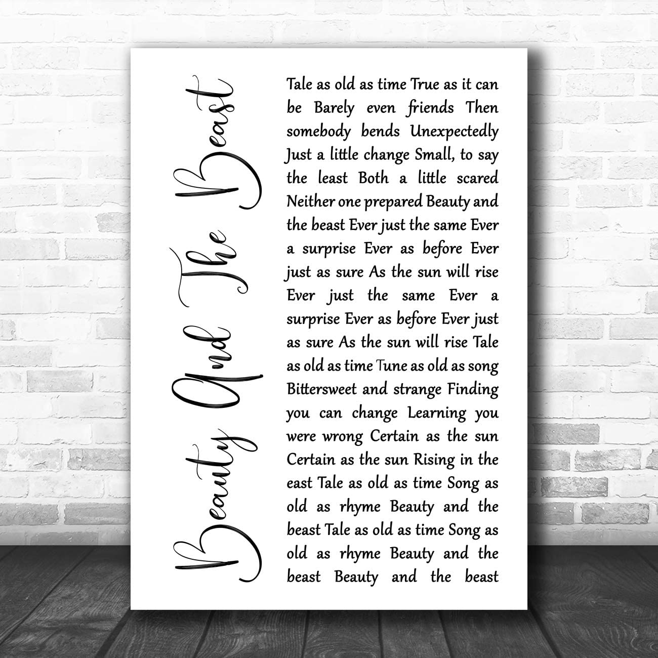 Amazon Com Beauty And The Beast White Script Song Lyric Art Music Quote Gift Poster Print Office Products