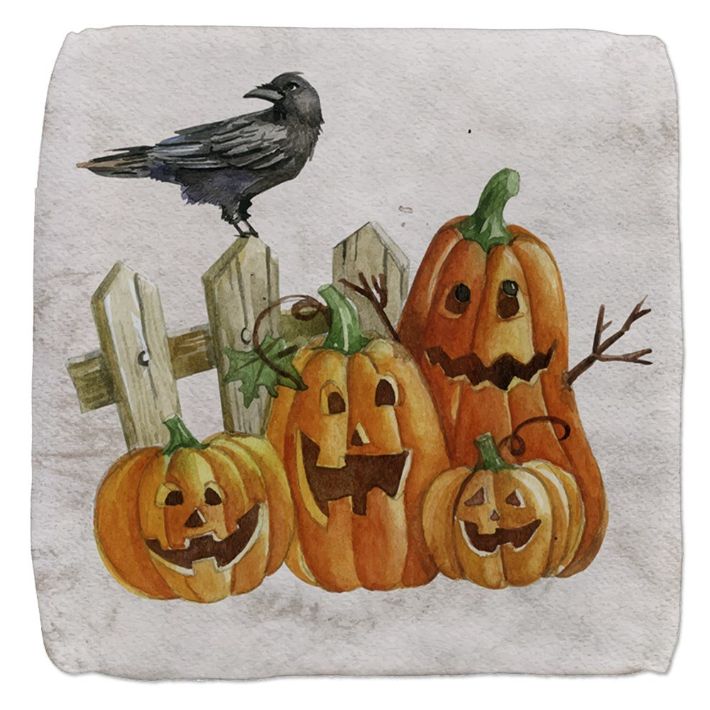18 Inch 6-Sided Cube Ottoman Cute Halloween Pumpkins and Crow