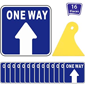 15 Pieces One Way Social Safety Distancing Floor Decal Sign, Directional Floor Sticker Non-slip Re-adjustable Arrow Floor Sticker with Scraper, Safety Floor Maker for Mall Store Office Grocery