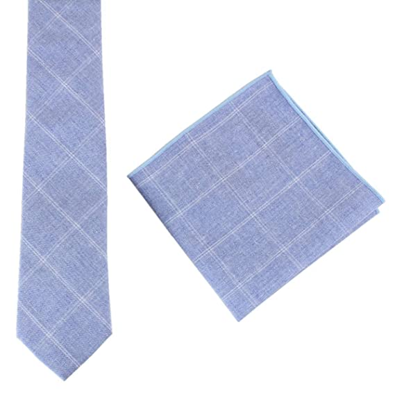 c7d05dfc81f8b Knightsbridge Neckwear Mens Cotton Tie and Pocket Square Set - Light Blue