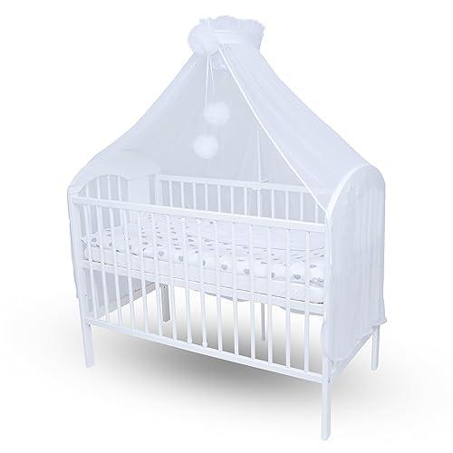 Callyna ® - Ciel de lit bébé XXL avec support, qualité LUX, voile Blanc grande taille. Moustiquaire décorative pour lit bébé. Pompon Blanc