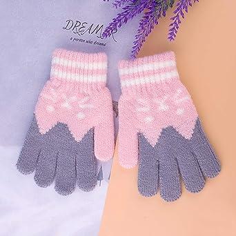 BOYATONG colorati caldi 6 paia di guanti caldi per bambini con dita intere a righe unisex per bambini a maglia per bambini in maglia unisex