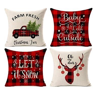 Kithomer Set of 4 Buffalo Plaid Christmas Pillow Covers Farmhouse Decorative Cotton Linen Throw Pillow Cases 18 x 18 Inch Christmas Home Decoration