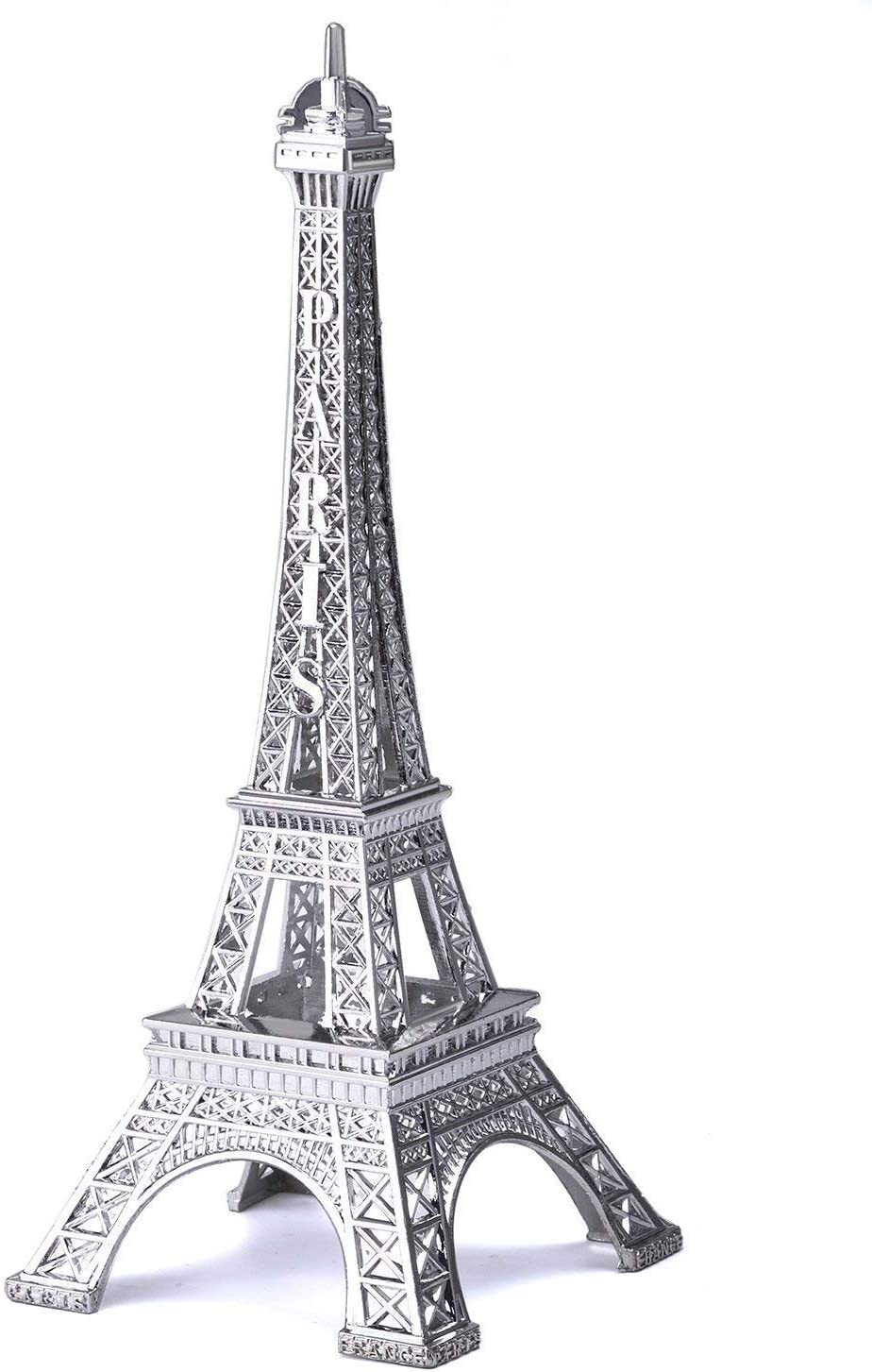 Eiffel Tower Paris France Metal Stand Statue Model for Home Decor or Wedding Theme (Silver)