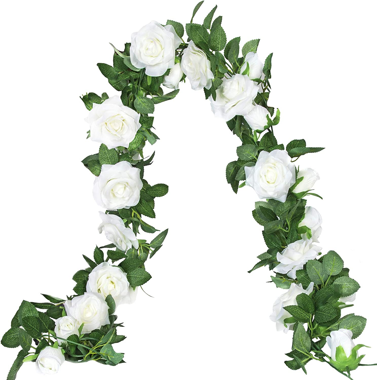 2 Pack Artificial Rose Vine Fake Flower Garland Silk Roses Floral Garland Hanging Flowers for Wedding Arch Backdrop Garden Home Wall Decor (White)
