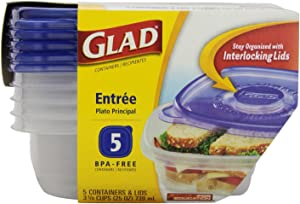 Glad 25 oz Entree Containers with Lids 5 ct (Pack of 6)