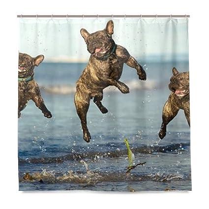 Amazon Blue French Bulldog Shower Curtain