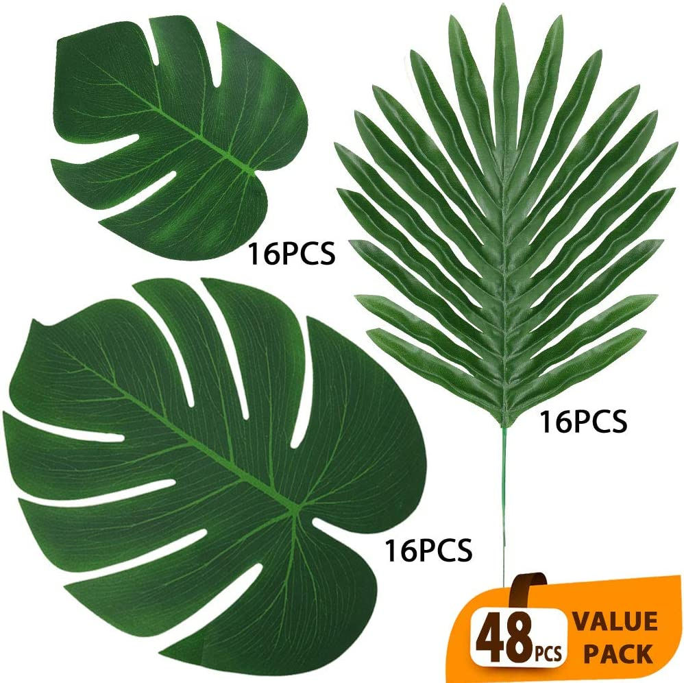 ElaDeco 48 Pcs Artificial Palm Leaves Tropical Faux Leaves Decoration Jungle Party Safari Leaves for Hawaiian Luau Theme Birthday Party (3 Styles)