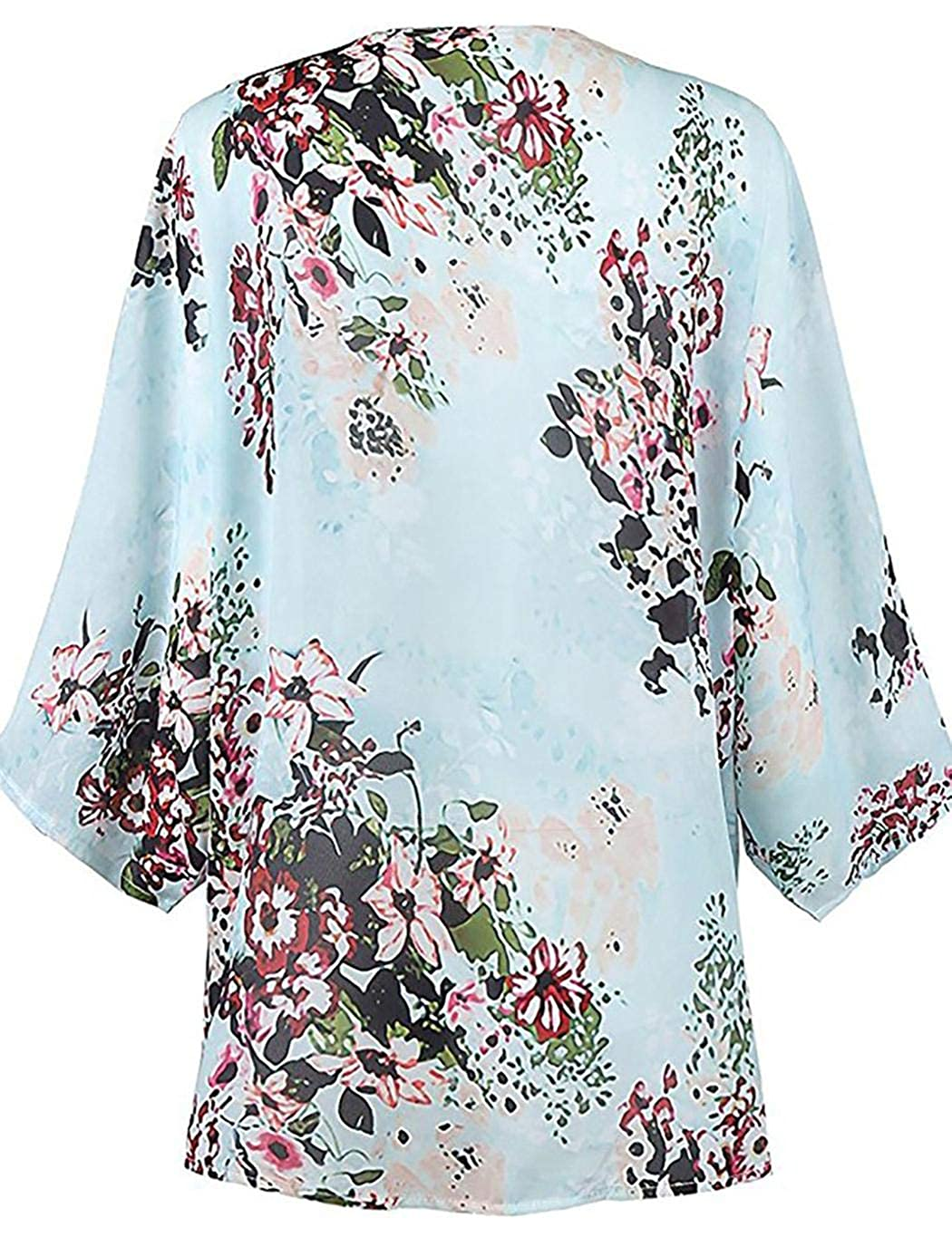 Idomeo Women Half Sleeve Floral Cover Up Chiffon Loose Sun Protection Cardigan Cover-Ups