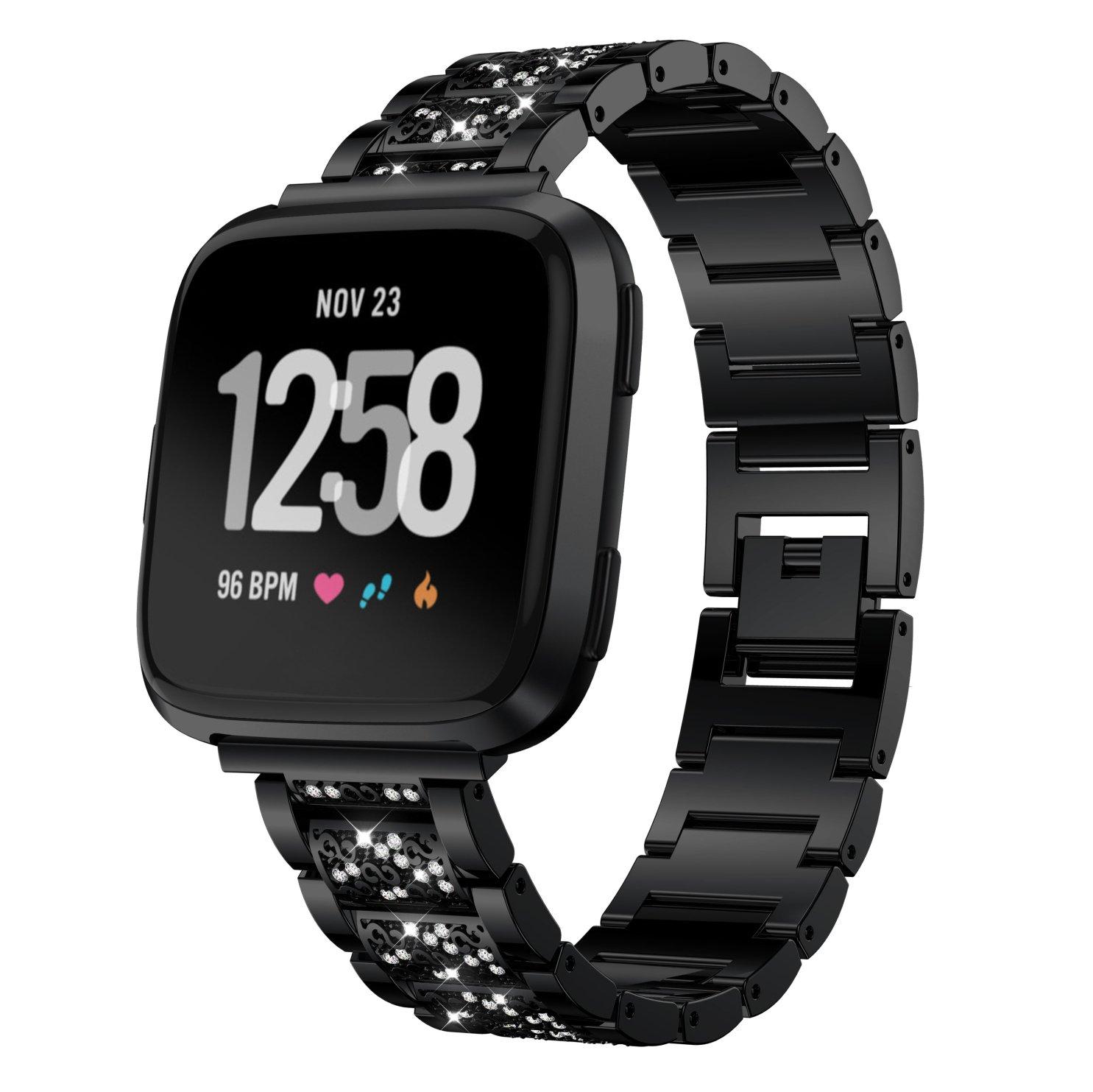 verstellbarer Ersatz Luxus Kristall Edelstahl Band Metall Uhrenband Armband f/ür Fitbit Versa Smartwatch YuStar f/ür Fitbit Versa Band