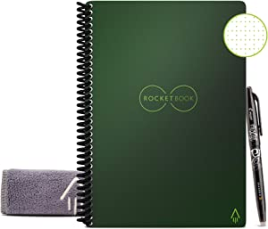 """Rocketbook Smart Reusable Notebook - Dot-Grid Eco-Friendly Notebook with 1 Pilot Frixion Pen & 1 Microfiber Cloth Included - Terrestrial Green Cover, Executive Size (6"""" x 8.8"""")"""