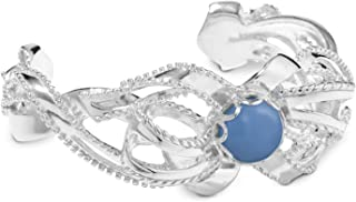 product image for Carolyn Pollack Sterling Silver Blue Chalcedony Gemstone Bow Cuff Size Small