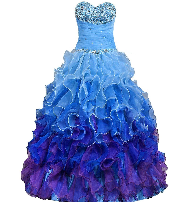 bluee DianSheng Beaded Strapless Rainbow Quinceanera Dresses Ruffle Prom Gowns CK64