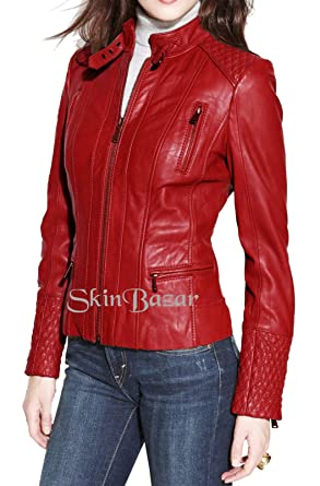 8d74512e522 Women's Leather Jackets Stylish Motorcycle Bomber Biker Real Lambskin  Leather Jacket for Women 40 XS Red