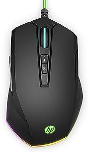 HP Pavilion Gaming 200 Wired USB Gaming Mouse, 3.200 DPI Pixart Optical Gaming Sensor, On-The -Fly Settings, RGB LED, Ergonomic