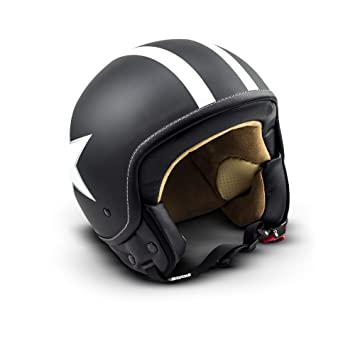 SOXON SP-301-STAR Black Casco Demi-Jet Chopper Cruiser Biker Mofa Helmet