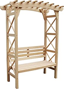 ALEKO Outdoor Wooden Garden Arbor with Leisure Bench and Trellis Sides for Climbing Plants