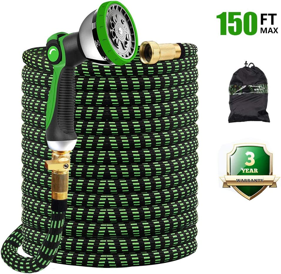 "Give Me 150FT Garden Hose, Expandable Garden Hose 150FT Hose with 10 Function Spray Nozzle - Durable No-Kink & Lightweight Flexible Water Hose with 3/4"" Solid Brass Fittings & Extra Strength Fabric"