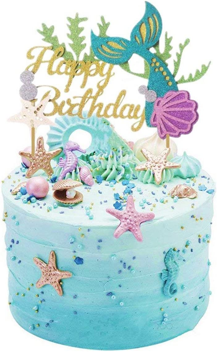 Outstanding Amazon Com Glitter Mermaid Cake Topper Happy Birthday Cake Picks Funny Birthday Cards Online Amentibdeldamsfinfo