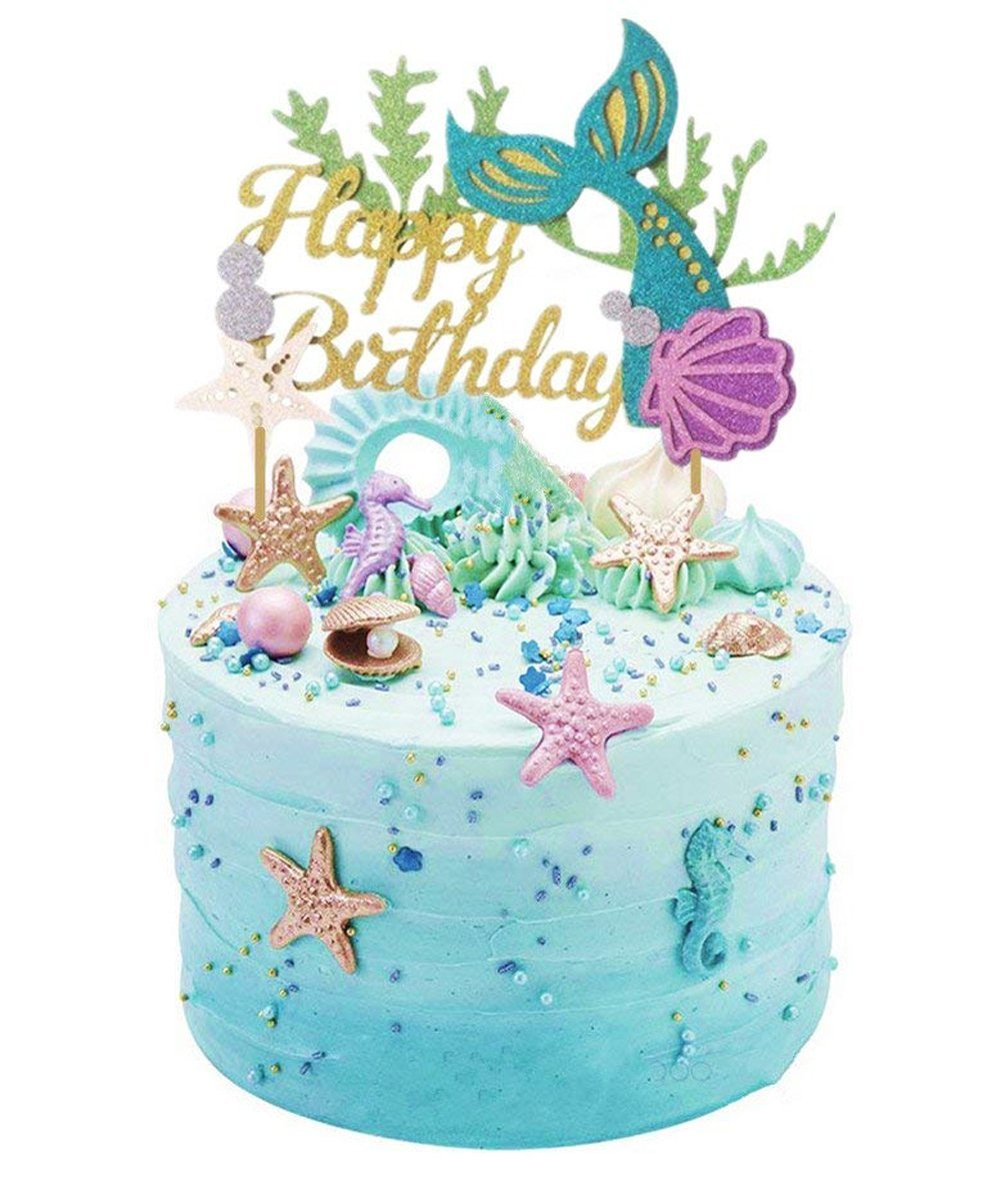 Glitter Mermaid Cake Topper Happy Birthday Cake Picks Mermaid Cake Decoration for Mermaid Baby Shower Birthday Party Supplies Kootips-1-4306