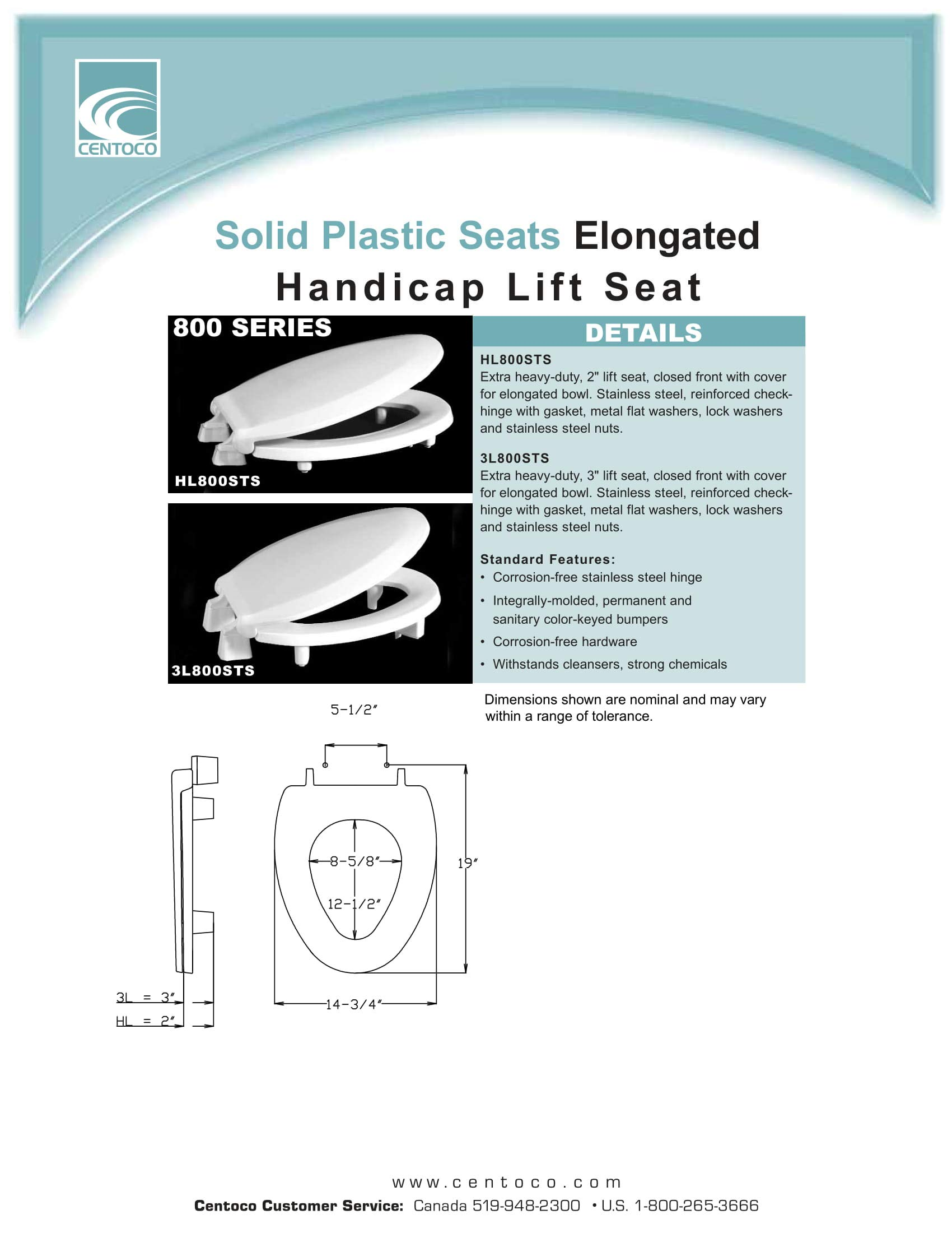Centoco 3L800STS-001 Elongated 3'' Lift, Raised Plastic Toilet Seat, Closed Front with Cover, ADA Compliant Handicap Medical Assistance Seat, White by Centoco (Image #3)