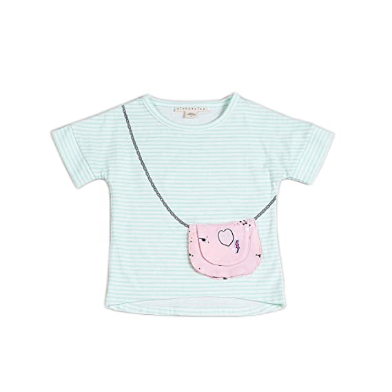 Sizes 2T-3T-4T-6 Kinderkind Girls Striped Shirt with Functional Purse Pocket