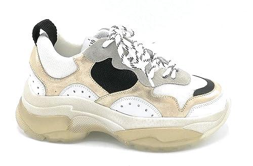 OVYE RG03V74 Sneaker Lacci Pelle Bianco Oro camoscio Grigio