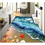 "ZaH Thin 3D Area Rug Non-slip Doormat Carpet Printing Rug for Living Room, Bedroom, Kitchen, Bathroom (4x6-47""x67"", Wave)"
