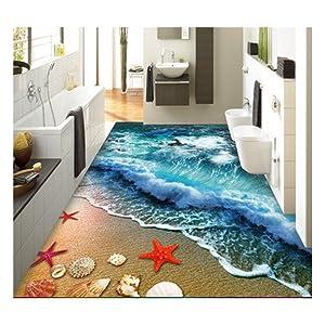 "ZaH Thin 3D Area Rug Non-Slip Doormat Carpet Printing Rug for Living Room, Bedroom, Kitchen, Bathroom (5x7-63""x90.6"", Wave)"