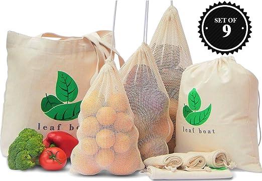Bolsas reutilizables para productos | algodón orgánico | paquete ...