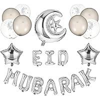 TOYANDONA Eid Mubarak Decoration Kit Moon Stars Foil Balloons Letter Balloons for Home Ramadan Kareem Decor Party…