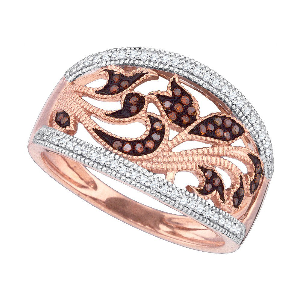 10K Rose Gold Dark Brandy Diamond Chocolate Brown Filigree Floral Band Ring 1/4 Ctw.