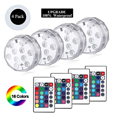 YUNLIGHTS Submersible Led Lights, 4 Pack Waterproof RGB Multi-Color Underwater Light, Battery Powered Pond Lights with Remote Controller for Pool, Vase, Hot Tub, Bathtub, Fountain, Aquarium, Fish Tank : Garden & Outdoor