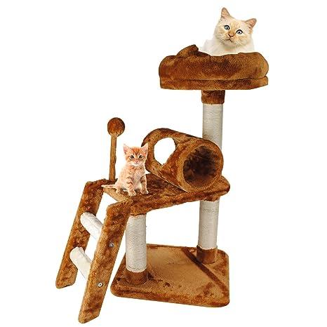 Rascador pequeño para trepar para gato, rascador con plataforma de descanso de sisal