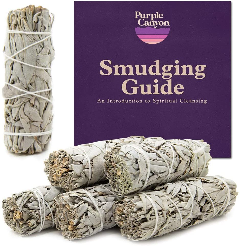 PURPLE CANYON White Sage Bundles - (6 Pack) - Sage Smudge Stick for Home Cleansing Incense Healing Meditation and California Smudge Sticks Rituals (4 Inch)