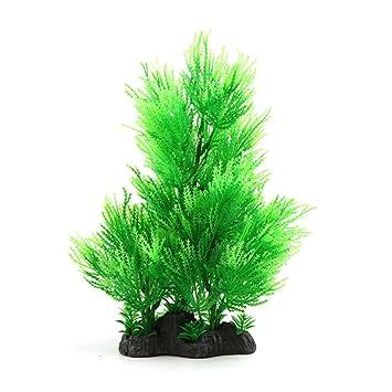 sourcingmap Hojas Verdes De Plástico Decorativo Plantas Para Peces De Acuario Tanque De Paisaje W Base: Amazon.es: Bricolaje y herramientas