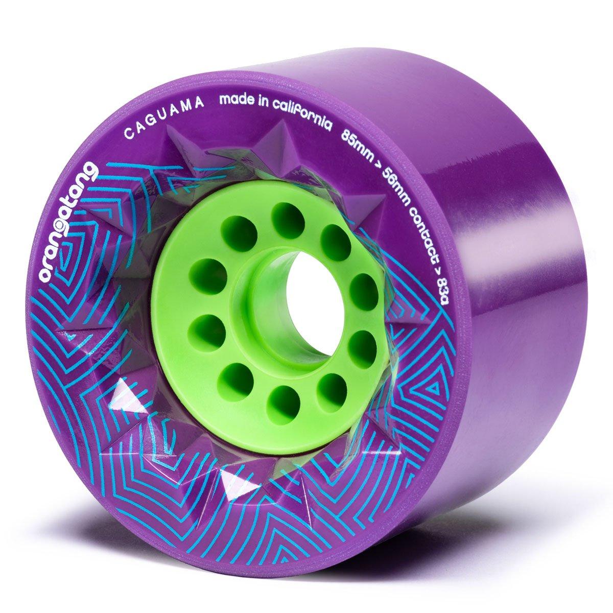 Orangatang Caguama 85 mm 83a Downhill Longboard Skateboard Cruising Wheels w/Loaded Jehu V2 Bearings (Purple, Set of 4) by Orangatang