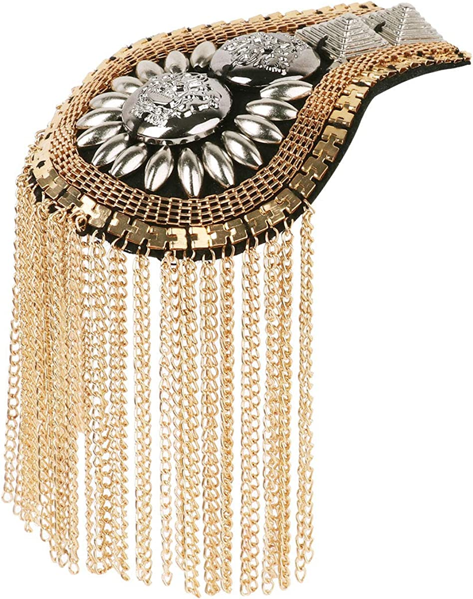 FEESHOW 2Pcs Shoulder Epaulets Tassel Chain Punk Fringe Epault Boards Badge Shoulder Brooch