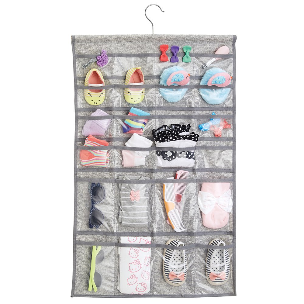 mDesign Hanging Fabric Baby Nursery Closet Organizer Hats, Bows, Shoes, Socks, Accessories - Pack of 2, 48 Pockets Each, Gray MetroDecor 7831MDB