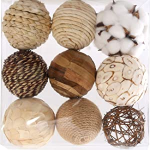 Ciroases Assorted Decorative Spherical 9pcs Brown White Orbs Natural Twig Rattan Woven Cotton Balls for Vase Bowl Filler Tabletop Decor …