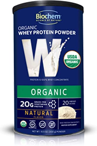 Biochem 100 USDA Organic Whey Protein – Natural Flavor – 10.5 oz – Preworkout – Immune Health – Easily Digestible – Amino Acids – Easy to Mix – USDA