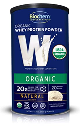Biochem Whey Protein Powder Natural Flavor, 10.5 oz Preworkout Immune Health 100 Organic Protein Whole Food Supplement Powdered Drink Mix, 20G Protein, Non GMO, Gluten Free