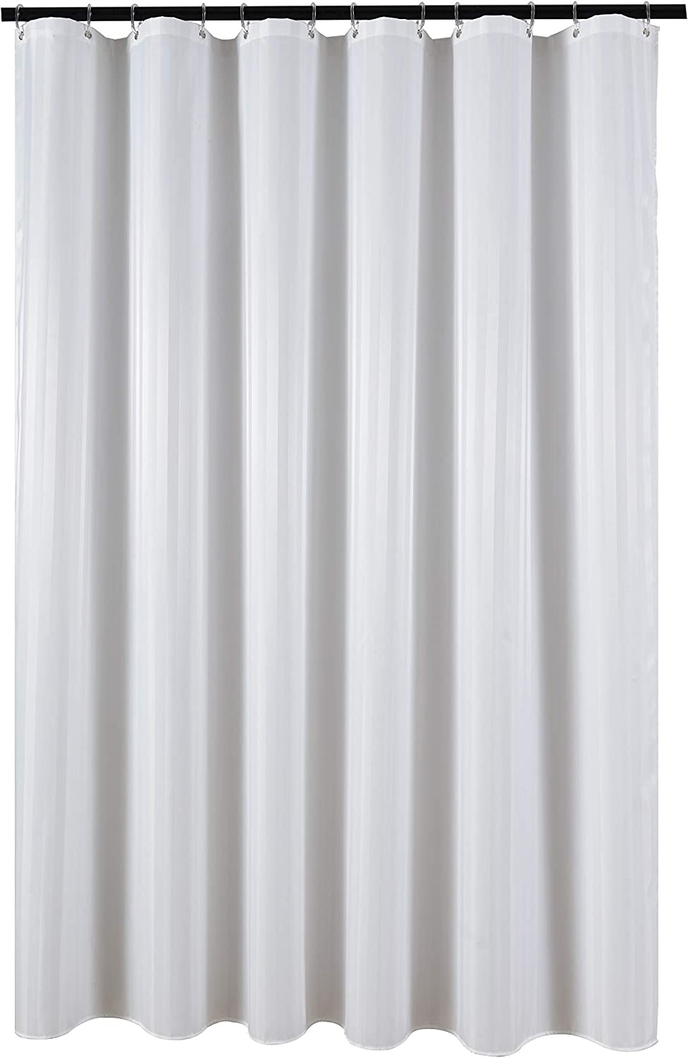 Biscaynebay Fabric Shower Curtains, Damask Stripes Water Repellent Bathroom Curtain Set, White 72 by 72 Inches, 12 Hooks Included