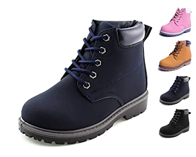 458c774e5a00 Jabasic Kids Lace-Up Ankle Boots Boy Girl Waterproof Martin Shoes (7 M US