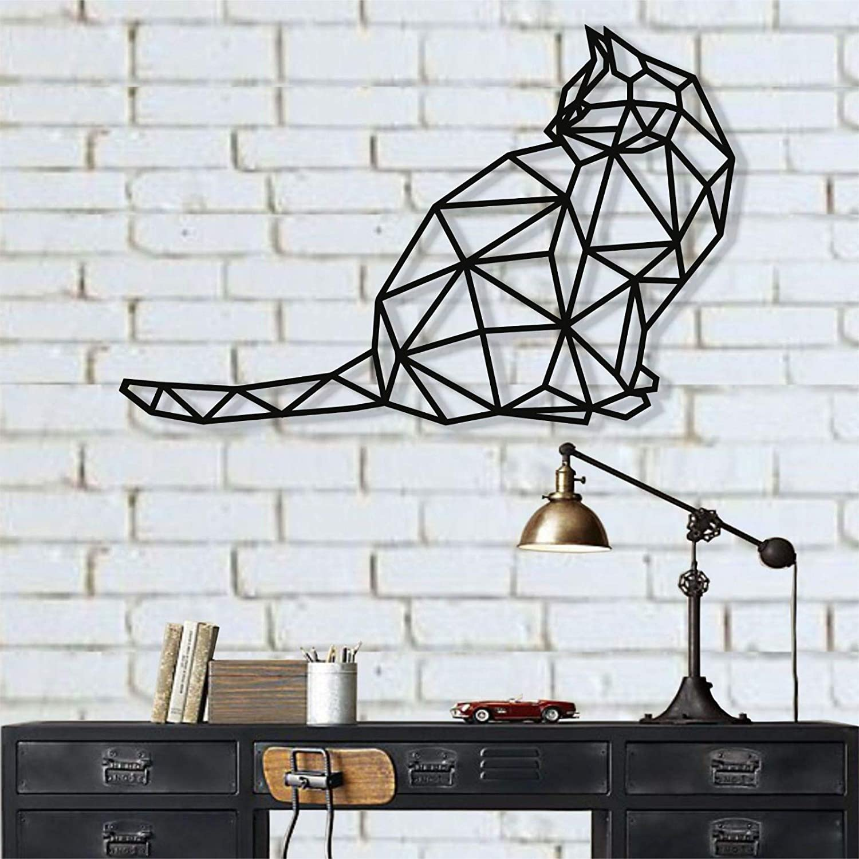 """Metal Cat Decoration, Metal Wall Art, Geometric Cat Art, Wall Silhouette, Metal Wall Decor, Home Decoration, Living Room Decor (18""""W x 12""""H / 45x30 cm)"""