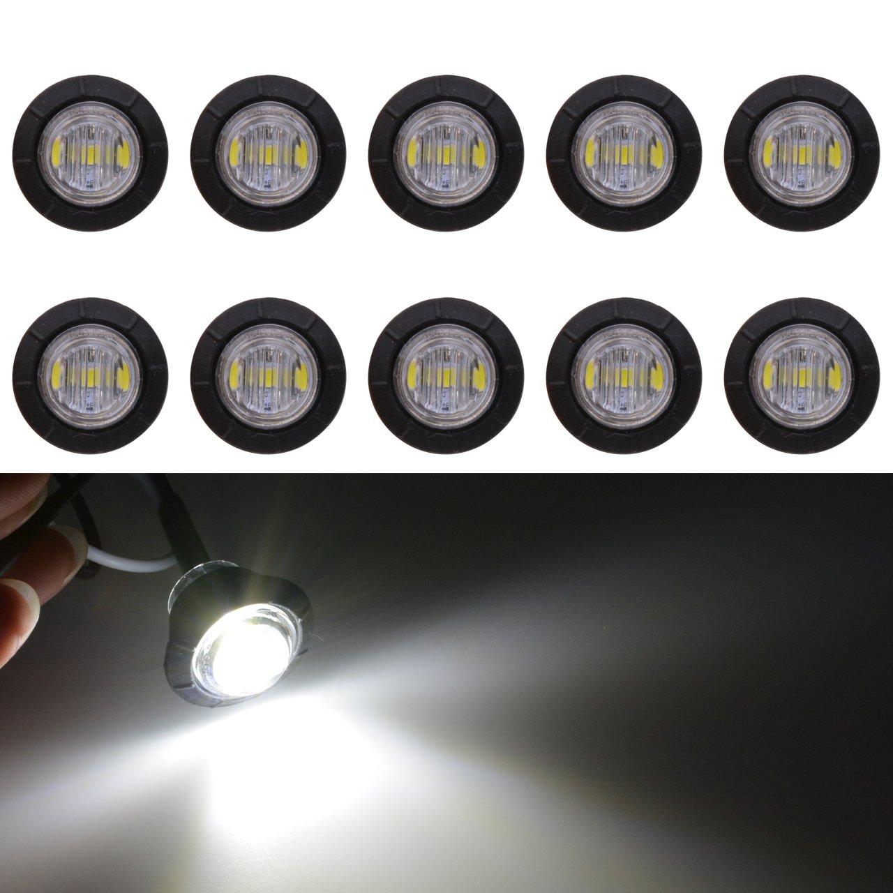 KaTur 3/4' Round LED Front Rear Side Marker Indicators Light Waterproof Bullet Clearance Marker Light 12V for Car Truck (White)