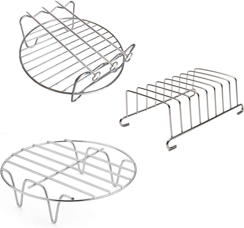 Air Fryer Accessories, 6'' Set of 3 Multipurpose Cooking Steaming Rack Toast Rack Skewer Rack With 3 Skewers Air Fryer Rack Kits Fits Most 2.5QT or Above Air Fryer